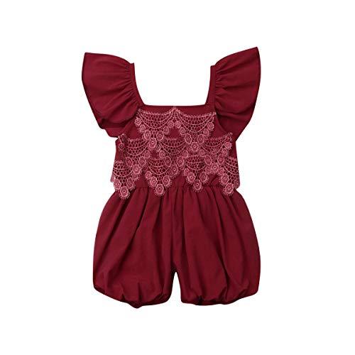 BriskyM Ensembles de vêtements pour bébés Filles, Tenues d'été pour bébé Fille à Manches à Volants Rose Sarouel Combi-Short Combinaison Tenue Tenue Mignonne (B, 18-24 Mois)