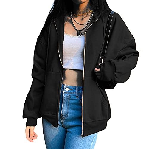 Geagodelia Veste à Capuche Femme Hoodie Sweat de Sport Oversize Vintage Zippé Blouson Couleur Solide Cardigan Pullover Outwear Y2K E-Girl Survêtement Jacket Printemps Automne (Noir, S)