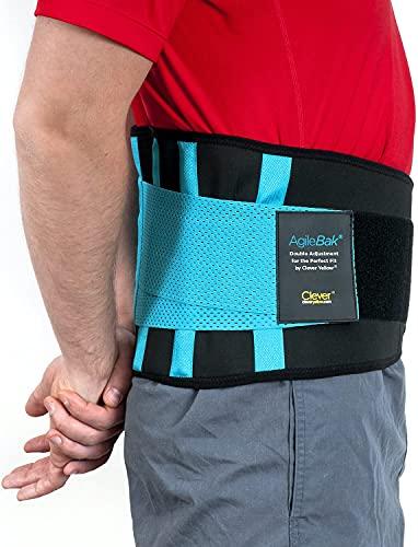 Ceinture lombaire, soutien dorsal inférieur - La seule ceinture lombaire certifiée de qualité médicale pour le soulagement de la douleur et la prévention des blessures, double ajustement parfait, AgileBak par Clever Yellow, 4 tailles