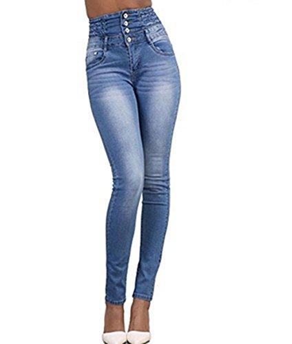 LAEMILIA Pantalons Femme Denim Printemps Jeans Slim Taille Haute Leggings Sexy Collant Crayon...