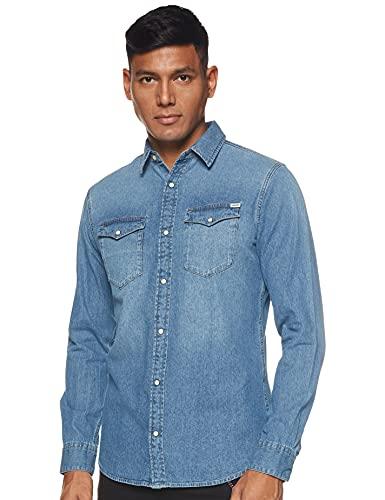 Jack & Jones Jjesheridan Shirt L/s Chemise en Jean, Bleu (Medium Blue Denim Fit:Slim), Large Homme