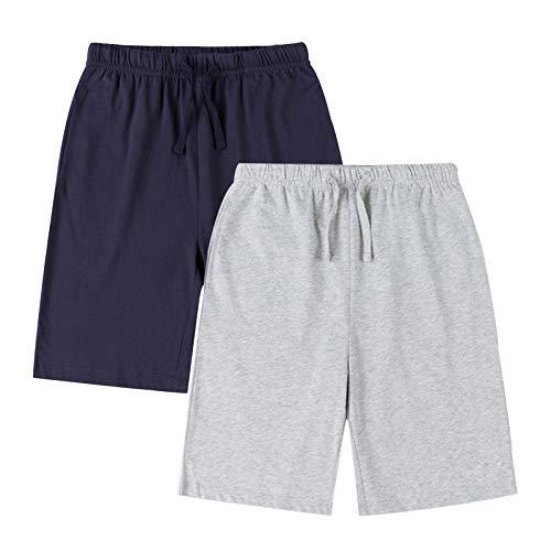 YoungSoul Lot de 2 Short Garçon Pantalon Jogging Ete Bermuda en Jersey Enfant Pantacourt Sport Fille Bleu Marine/Orange 11-12 Ans/Taille XL prix et achat