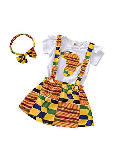 Eghunooze Ensemble de 2 vêtements d'été pour bébé fille africaine - Imprimé bohème - Sans manches - Barboteuse à volants - Haut à bretelles, jupe et bandeau - - 0-6 mois prix et achat