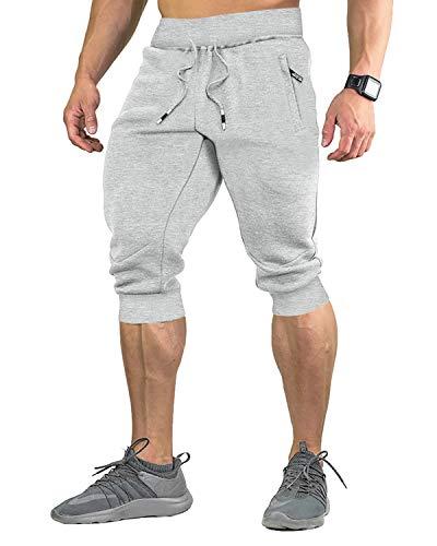 EKLENTSON Homme Coton décontracté Short 3/4 Pantacourt Jogger Respirant ci-Dessous Genou Pantalon Court avec Trois Poches prix et achat