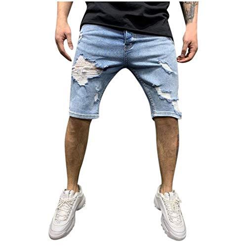 ELECTRI Short en Jean Pantalon Court Denim pour Homme Extensible Coupe Regular Shorts en Jeans Homme Casual Denim Pantalon Court Jeans Bermuda Déchiré Outdoor Cargo Pants avec Poches