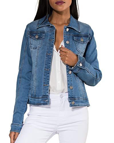 Veste en Jean pour Femmes Courte Basic Jacket Gilet en Denim, Couleurs:Bleu, Taille:46