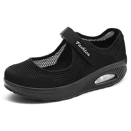 Sandales Femme Mailles Chaussures de Fitness Baskets Mode Compensées Mary Janes pour Femme Espadrilles Chaussures de Sport Eté EU39 A-Noir-2