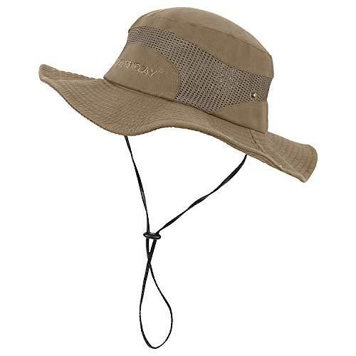JAOAJ Chapeau de Soleil Homme,Chapeau EtéProtection UV,Pliable/Bande Réglable Maille Respirante Safari Chapeau,pour Camping,Pêche,Voyage