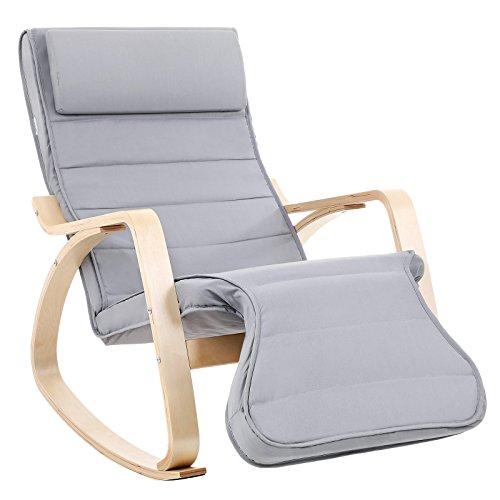SONGMICS Fauteuil à Bascule, Rocking Chair, avec Repose-pied,...