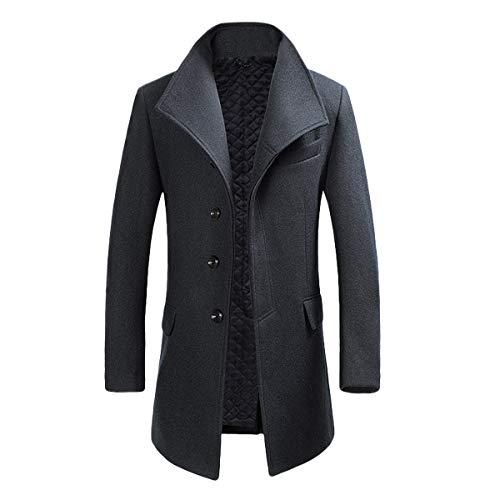Allthemen Manteau Homme Hiver Long Trench Coat Slim Outerwear Couleur Unie Coat en Laine, Gris...