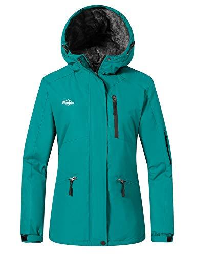 Wantdo Femme Veste de Ski Coupe-Vent Imperméable Manteau Hiver Chaude Polaire Veste Sport Outdoor Montagne Anorak Randonnée Multi-Poches Turquoise S