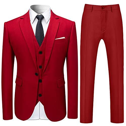 Costume Homme 3 Pcs Costard Blazer Veste et Pantalon Gilet Mariage Party Smoking, Rouge, M
