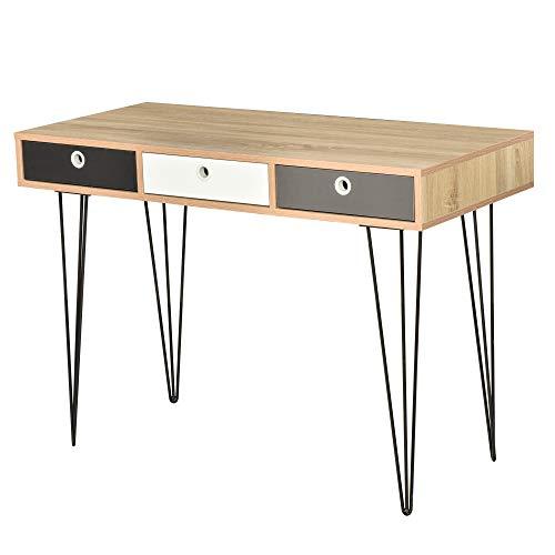 HOMCOM Table d'appoint Console Design scandinave 3 tiroirs tricolores Pieds épingles métal Noir Panneaux Particules chêne Clair