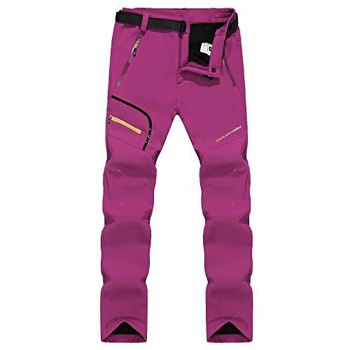 Naudamp Pantalon de randonnée pour Femme en Laine Polaire Softshell doublé en Plein air