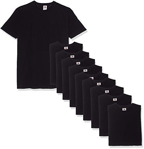 Fruit of the Loom Valueweight Short Sleeve T-Shirt, Noir, L (Lot de 10) Homme