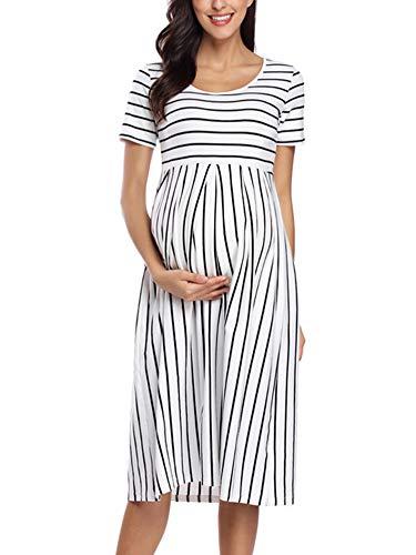 Love2Mi Robe de grossesse à manches courtes, robe de grossesse à rayures, longueur genou,...