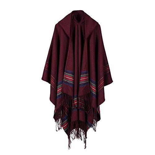 Susenstone Pull Femme A Capuche Manteaux en Tricot De Poncho en Cachemire Hiver Chaud pour Femmes à Franges Sweater (Taille Unique, Vin Rouge) prix et achat
