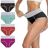 wirarpa Culotte Femme Coton Culottes Taille Haute Slip Sport Lot de 4 Taille L