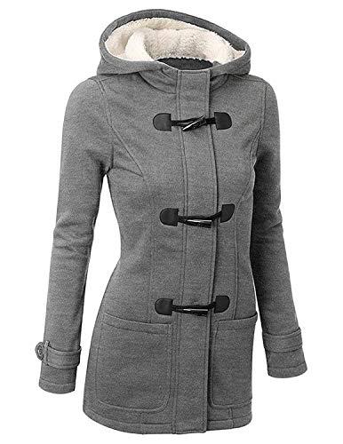 GHYUGR Femmes Manteaux à Capuche Bouton Corne Blouson Veste Jacket Chaud Épais Hoodie Hoody Outwear Automne Hiver Slim Fit,Gris 1,XL