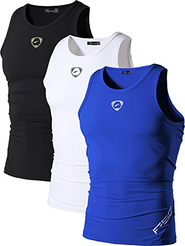 jeansian Homme De Sport Outdoor Sportswear 3 Packs Quick Dry Compression Tank Tops Vests Shirt...