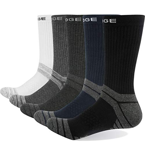 YUEDGE 5 Paires Homme Chaussettes de Randonnée Noir/Bleu foncé/Gris clair/Gris moyen/Gris fonce (L)