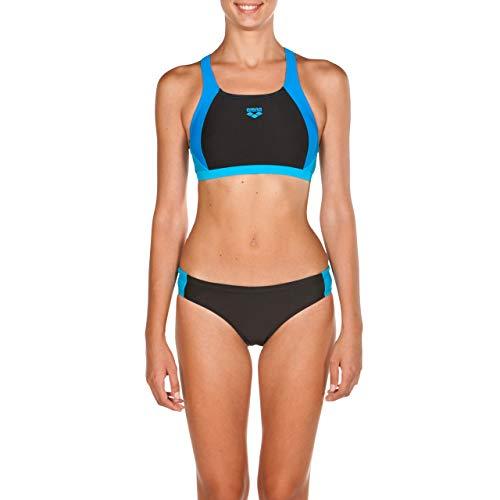 Arena Ren Two Pieces Bikini Femmes, Black-PIX Blue-TURQU, 36