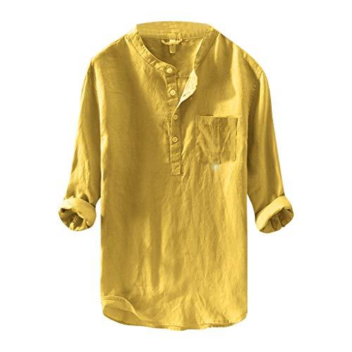 manadlian Homme T-Shirts à Manches Longues Lin Chemises Casual Hiver Sweat-Shirt Manteau Hiver Haut Pas Cher Casual Sweatshirt Pas Cher Tops Col en V Blouse Hommes