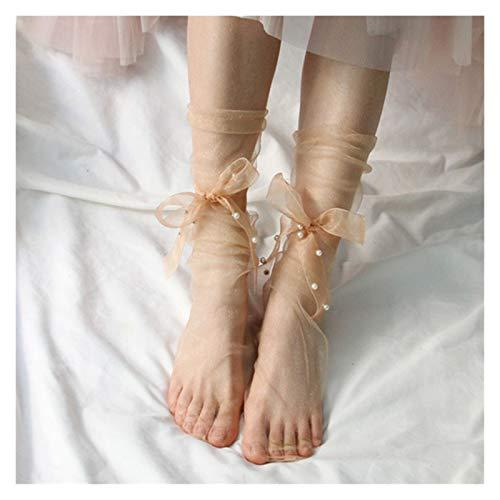 JSJJAYU Chaussette Chaussettes de Tulle Ultra-Mince d'été Femmes Transparentes Longues Chaussettes Femelles Mousseline de Mousseline de Soie Dentelle Amusante Chaussettes de Rue (Color : Nude) prix et achat