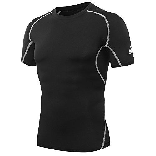 Amzsport T-shirt de compression à manches courtes pour homme T-shirt technique - Noir - Medium