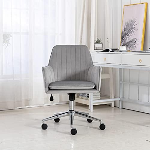 Irene house Chaise de Bureau pivotante réglable en Hauteur, Chaise de Bureau Ergonomique, Chaise de Chambre à Coucher en Tissu Velours Style Moderne (Gris)