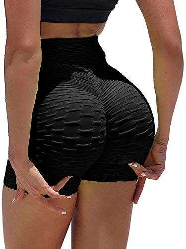 Carolilly Short de Sport Femme Push Up Sexy Short de Sport Taille Haute Anti-Cellulite Pantalon de Sport Élastique de Yoga Fitness (Noir, M)