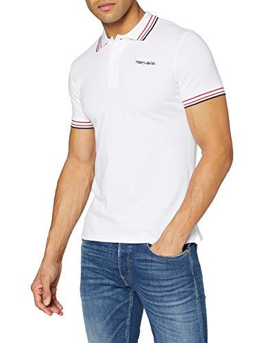 Teddy Smith PASIAN MC Polo T-Shirt - Homme - Blanc (Blanc/Blue/Red 202a5) - Medium