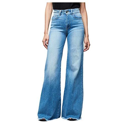 BUKINIE Pantalon en Denim pour Femmes Taille élastique Coupe régulière Coupe Jambes Larges Jeans Taille Haute Curvy Stretch Bootcut Jeans Pantalon Jean(Bleu Clair,Medium prix et achat