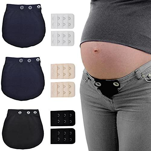 3pcs Extension Pantalon de Maternité Réglable Élastique Taille Extension de Ceinture de Grossesse Extension de Pantalon de Grossesse Élastique pour Femmes Enceinte Hommes Jeans Pantalons - 2 Couleur