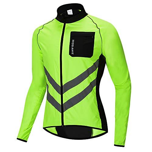 WOSAWE Veste de Cyclisme pour Hommes Femme Imperméable Légère Riding Course Manteau Haute Visibilité VTT Vêtements (BL218 Vert L)