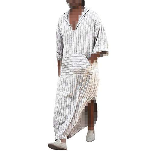 Kangrunmys- Hommes Robes Chic Mode Ethniques en Vrac Rayé à Manches Longues Robe Vintage à...