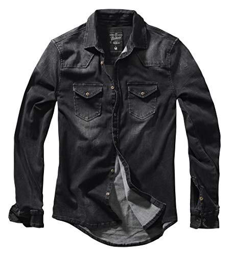 Brandit Homme Chemise Jeans Riley Denimshirt - Noir (Noir 2), XL