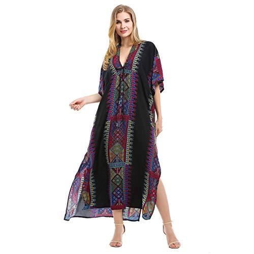 Tyidalin Robe de Plage Femme Kaftan Grande Taille Paréo Rayonne Kimono Maxi Longue Eté Bohème (Couleur 12, Taille Unique)