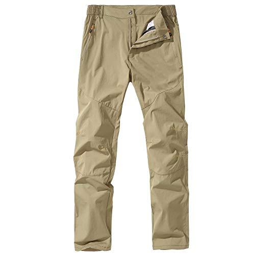 FLYGAGA Pantalon d'extérieur pour homme, pantalon de randonnée, pantalon à séchage rapide, pantalon léger et respirant, pantalon de course, pantalon cargo pour l'été - Vert - L
