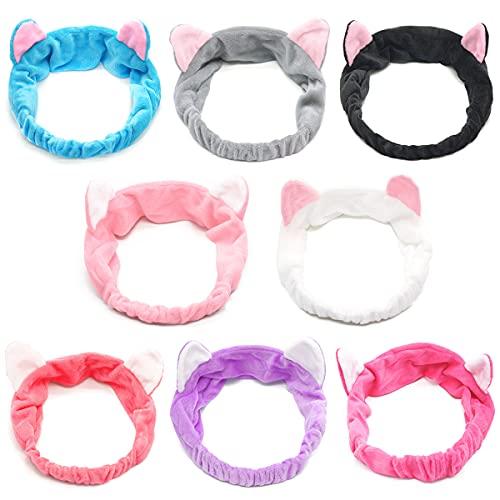 8pcs oreilles de chat bandeaux - spa douche visage lavage bandeau bandeau facial maquillage bande wrap lavable tissu coloré s'adapte à toutes les tailles de tête prix et achat