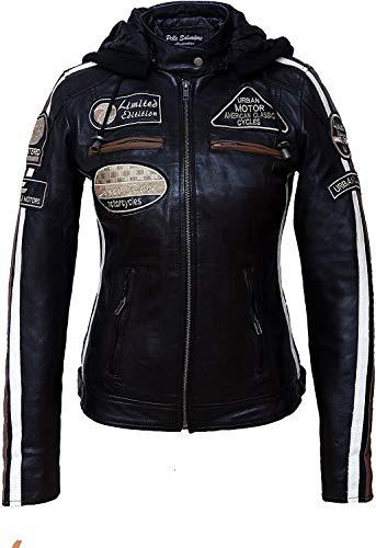 Urban Leather 58 Veste de Moto avec Protections - Femme - Noir - 2XL/46