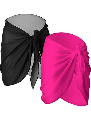 2 Pièces Wrap de Plage de Femmes Sarong Couverture de Bikini Jupes Wrap pour Maillot de Bain en Mousseline (Noir et Rouge Rose, Court) prix et achat
