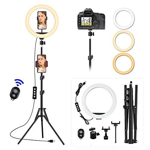 VEVICE Ring Light avec Trépied, 10'' Anneau Lumineux Selfie, LED...