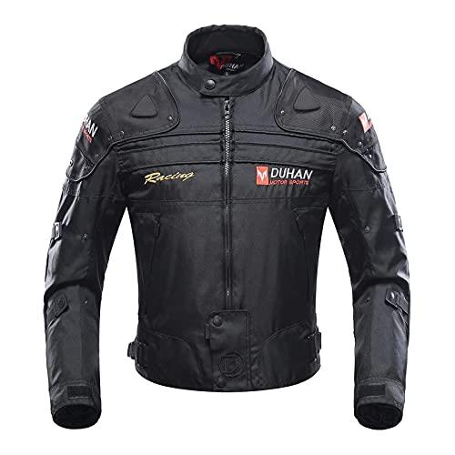 BORLENI Veste de moto, blouson moto homme sport avec armure pour l'automne Hiver (Black, XL)