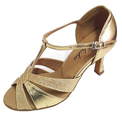 Chaussures de danse latine salsa pour femme 7,6 cm talon évasé bout ouvert semelle souple Doré, or (doré), 38.5 EU prix et achat