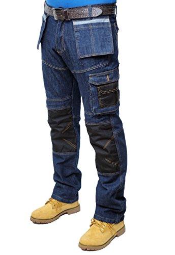 Prime Homme Pantalon de Travail Cargo armée Tactique Jeans (BLUE-DENIM-004, 30W X 32L)