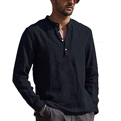 Carolilly Chemise en Lin à Manches Longues pour Homme Chemise Boutonnée Slim Fit Col Mao T-Shirt Top Casual