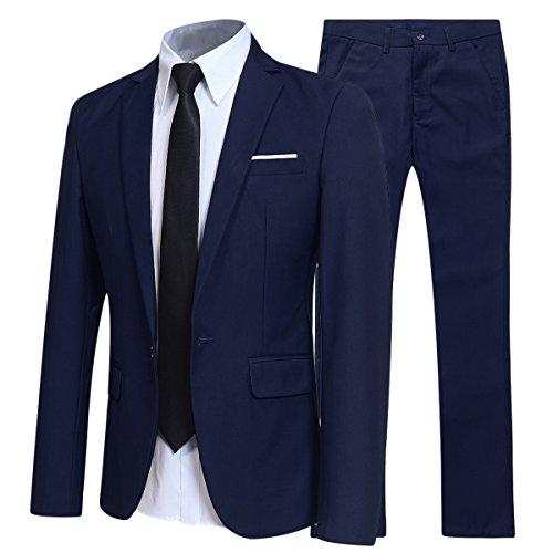 Costume Homme d'affaire en cérémonie Mariage Veste et Pantalon Deux pièce Slim fit,Bleu...