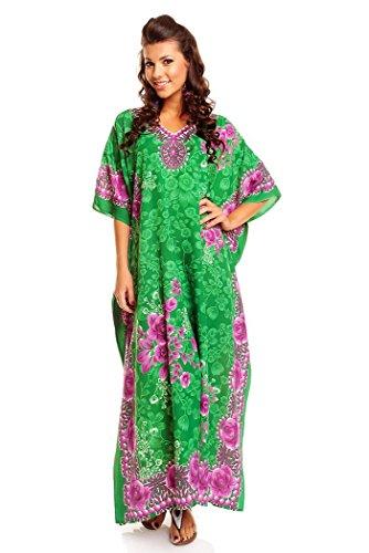 Neuf Femmes Surdimensionné Maxi Kimono Tunique Caftan Robe Caftan Grande - Vert - Taille...