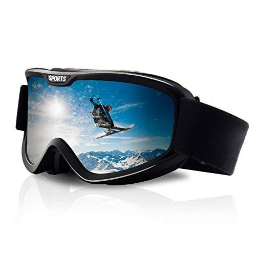 DUDUKING Lunettes de Ski Masque de Snowboard pour Homme & Femme Double Lentille Anti-UV Anti-Buée Coupe-Vent, Lunettes de Snowboard OTG Ajustables prix et achat